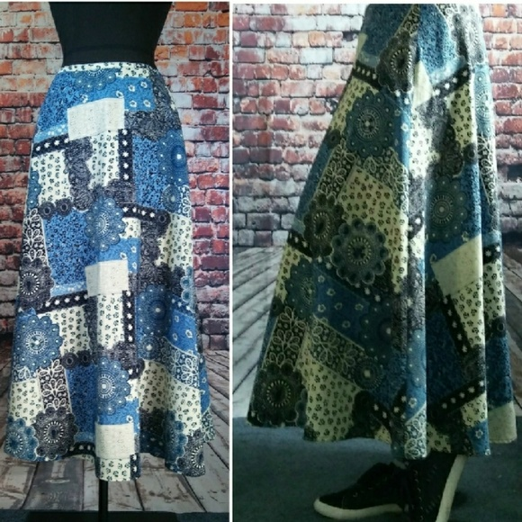 Handmade Dresses & Skirts - Patchwork Print Swing Circle Maxi Skirt